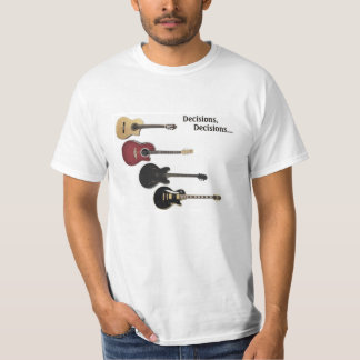T-shirt with 4 guitars & Decisions, Decisions...