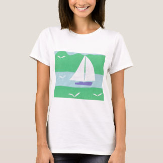 T-Shirt with a Sailboat and Mountain Design