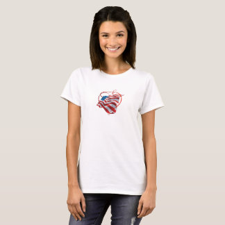 T-Shirt With Beautiful American Flag and Heart