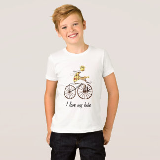 T-shirt with bicycle and text fashionable white