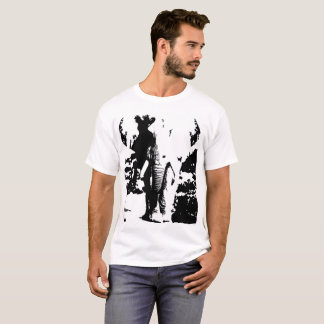 T-shirt with black and white print elephant