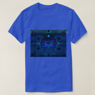 T-Shirt with Blue, Green and Cyan Digital Pattern
