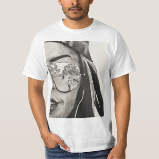 T-shirt with charcoal drawing