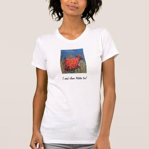 T-shirt with hand-painted orange Fish