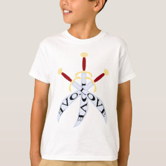 T-shirt with three crossed_sword print