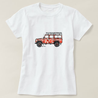 T-shirt with tough print of Defender in orange