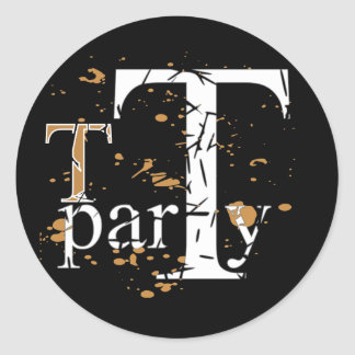 T Tea Party Round Stickers