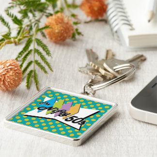 Ta Dot Lagoon Silver-Colored Square Key Ring