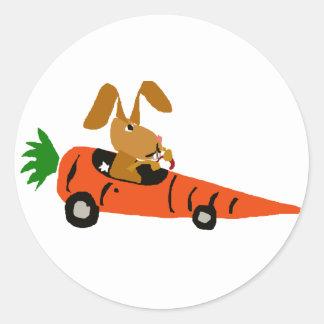 TA- Funny Bunny Rabbit Driving Carrot Car Cartoon Round Sticker