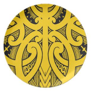 47c2d564c Ta Moko traditional Maori tattoo design koru shape Plate