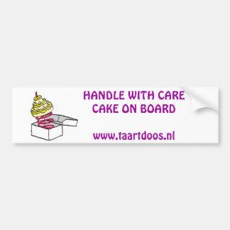 taartdoos logo, Voorzichtige rijderTaart aan bo... Bumper Sticker