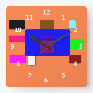 Tab – Colorful Abstract Art on Orange Background Square Wall Clock