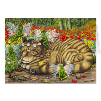 Tabby Cat and Faeries Card