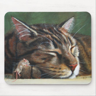 Tabby Cat and Mouse Mousepad