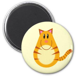 Tabby Cat Cartoon 6 Cm Round Magnet