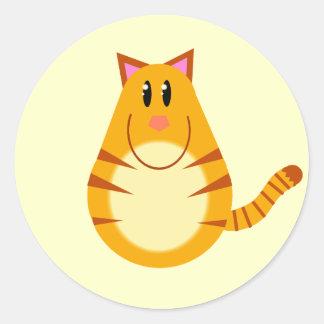 Tabby Cat Cartoon Round Sticker