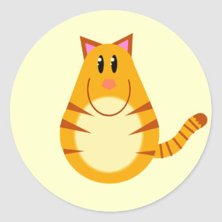 Tabby Cat Cartoon Round Stickers