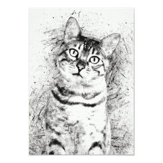 Tabby Cat Ink Sketch Portrait Card