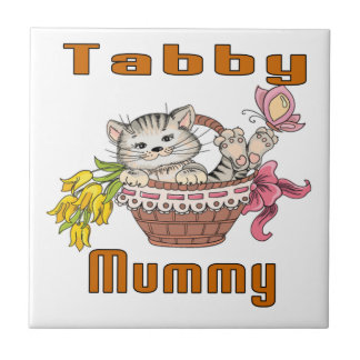 Tabby Cat Mom Small Square Tile