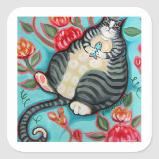 Tabby Cat on a Cushion Square Sticker