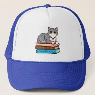 Tabby Cat on Books Trucker Hat