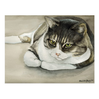 Tabby Cat Original Art Postcard