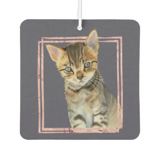 Tabby Cat Painting with Faux Rose Gold Foil Frame Car Air Freshener