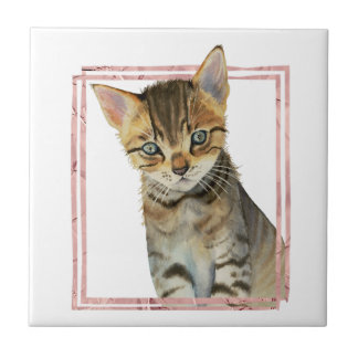 Tabby Cat Painting with Faux Rose Gold Foil Frame Ceramic Tile