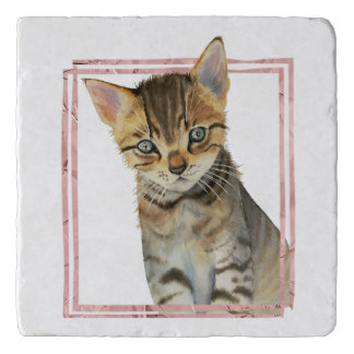 Tabby Cat Painting with Faux Rose Gold Foil Frame Trivet