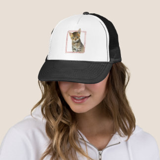 Tabby Cat Painting with Faux Rose Gold Foil Frame Trucker Hat