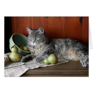 Tabby Cat & Pears Notecard