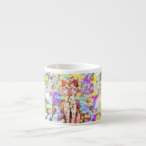 tabby cat popart espresso cups