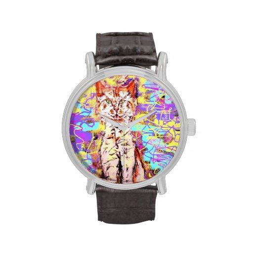 tabby cat popart wrist watches