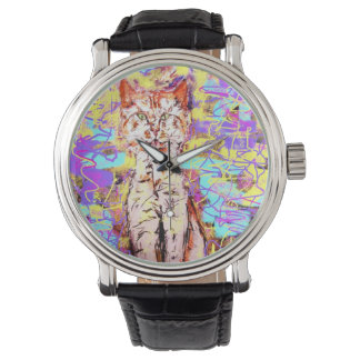 tabby cat popart wristwatches