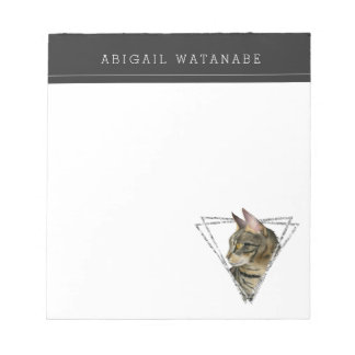 Tabby Cat Portrait with Faux Silver Glitter Frame Notepad