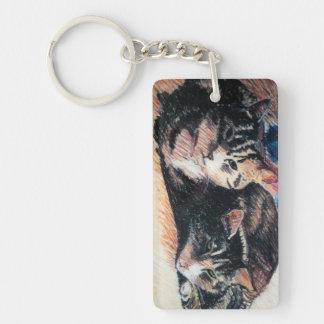 Tabby Cat Rectangle Keychain, Customizable Key Ring
