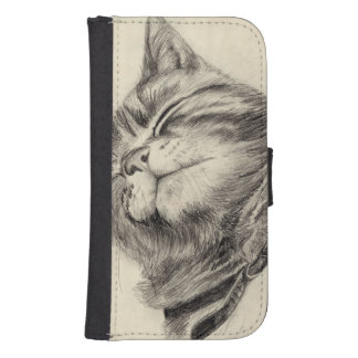 tabby cat scritching phone wallet case