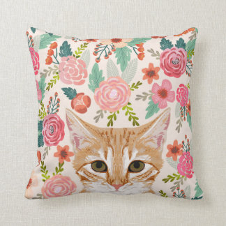Tabby Cat spring florals cute cat lady pillows