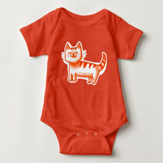 tabby cat sweet graphic design cartoon style baby bodysuit