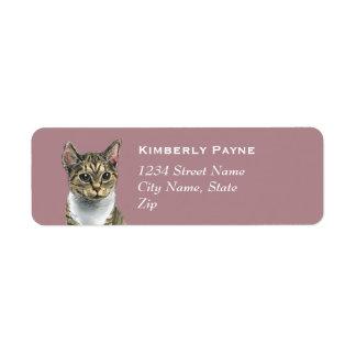 Tabby Cat With Big Eyes Drawing Return Address Label