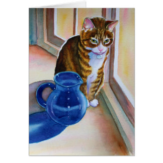 Tabby Cat with Blue Vase Card