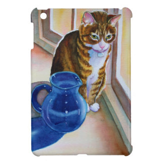 Tabby Cat with Blue Vase iPad Mini Cover