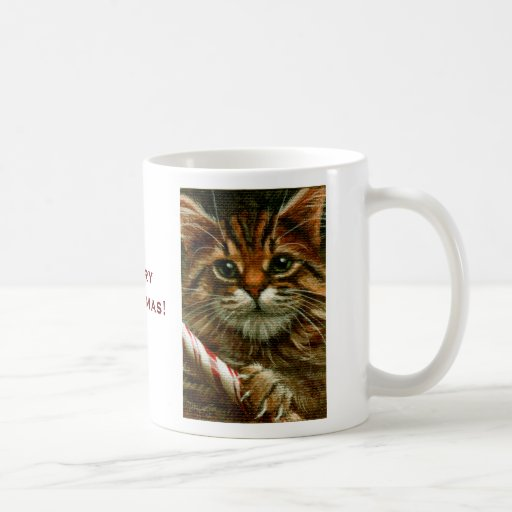 Tabby Cat with Candy Cane, Merry Christmas! Mug