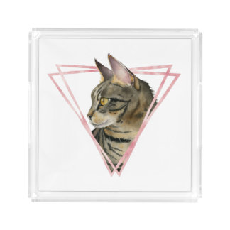 Tabby Cat with Faux Blush Metallic Frame Acrylic Tray