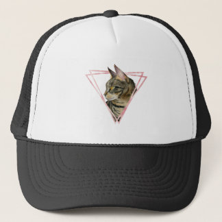 Tabby Cat with Faux Blush Metallic Frame Trucker Hat