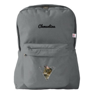 Tabby Cat with Faux Silver Glitter Frame Backpack