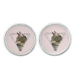 Tabby Cat with Faux Silver Glitter Frame Cuff Links