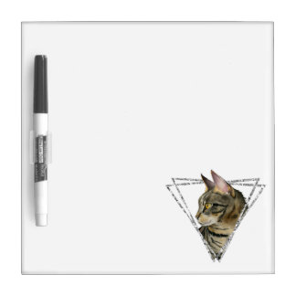 Tabby Cat with Faux Silver Glitter Frame Dry Erase Board