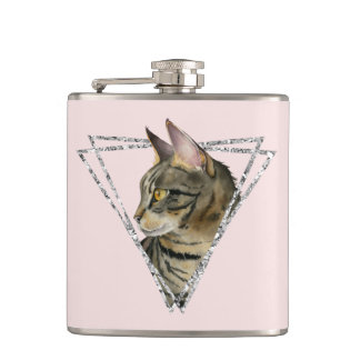 Tabby Cat with Faux Silver Glitter Frame Hip Flask