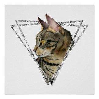 Tabby Cat with Faux Silver Glitter Frame Poster